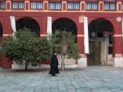 English: Orthodox monk in the Vatopedi monastery, Mount Athos.