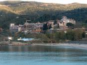 English: View of the Vatopedi monastery in Mount Athos (April 2006).