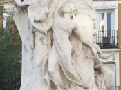 English: Allegory of Poetry. Detail of the Monument to Quevedo (1580–1645) in Madrid (Spain). Español: Alegoría de la Poesía. Detalle del Monumento a Quevedo (1580–1645) en Madrid (España).