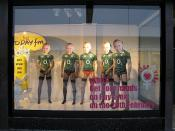English: Window dressing, Mary Street, Dublin (2) On the weekend of the six nation, Ireland v Scotland rugby match.