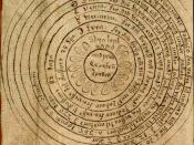 English: The geocentric world view. From an Icelandic manuscript, written between 1747 and 1752. Now in the care of the Árni Magnússon Institute in Iceland.