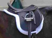 A hunt seat style saddle with shaped saddle pad, suitable for hunter and hunter under saddle classes, USA.