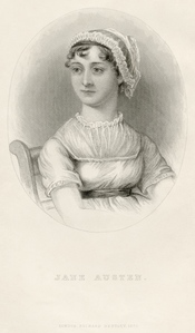 Portrait of Jane Austen, from the memoir by J. E. Austen-Leigh. All other portraits of Austen are generally based on this, which is itself based on a sketch by Cassandra Austen