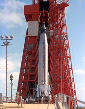 English: Pre-launch test of the Mercury-Atlas 9 (MA9) on Launch Pad 14 at Cape Canaveral, Florida.
