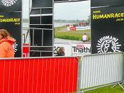 English: The Human Race triathlon - the end This is the finish line.