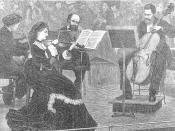 Violinist Vilemina Neruda leading a string quartet, c. 1880.