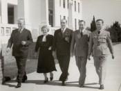 English: Sir Robert Menzies, Dame Enid Lyons, Eric Harrison, Harold Holt and an Airforceman outside Old Parliament House Canberra.