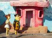 English: Fred and Wilma Flintstone figurines at the Ankara Public Amusement Park