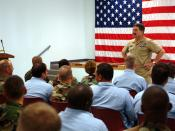Gulfport, Miss. (Aug. 23, 2005) - Master Chief Petty Officer of the Navy (MCPON) Terry Scott speaks to more than 60 chief petty officer selectees from Gulfport and Pascagoula, Miss. MCPON Scott explained to the new selectees the importance of learning the