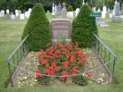 English: Burial site and gravestone of Lucy Maud Montgomery, famous author Anne of Green Gables, PEI Canada.