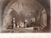 Interior of the house of a Palestinian Christian family in Jerusalem. By W. H. Bartlett, ca 1850