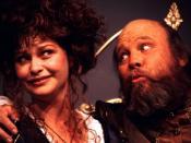 English: Mistress Page (Julie Hughett) and Falstaff (John Rousseau) in