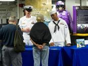 Sailors discuss the ONR Tech Solutions program.