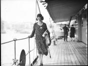 Donna Adelaide Grossardi posing on the deck of HNLMS JAVA, 10 October 1930