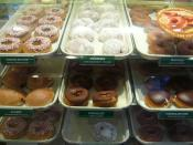 An assortment of doughnuts on display in a shop in Washington, D.C..