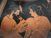 God council in Olympus: Hermes with his mother Maia. Detail of the side B of an Attic red-figure belly-amphora, ca. 500 BC.