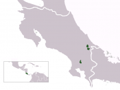 Map of Costa Rica showing, in green, the three most important Bribri reserves