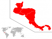 Ubicación del subcontinente centroamericano en el mundo. Location of the Central American subcontinent in the world.