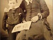 English: Wyatt Earp with his mother Virginia Ann Cooksey Earp c. 1856. Wyatt was named by his father Nicholas for Captain Wyatt Berry Stapp, leader of