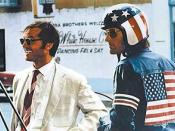 Jack Nicholson as lawyer George Hanson in Easy Rider with Peter Fonda