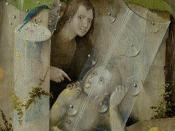 The Garden of Earthly Delights, central panel, detail: Man pointing at a women (lower right).