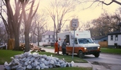An American Red Cross vehicle distributing food to Grand Forks, North Dakota victims of the 1997 Red River flood