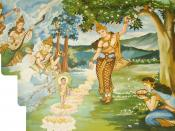 This picture depicts the birth of Gautama Buddha, in a forest at Lumbini. The legend goes that directly after his birth, he made 7 steps and proclaimed that he would end suffering and attain supreme enlightenment in this life. The Buddha's mother is holdi