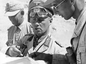 Field Marshal Erwin Rommel, Commander of the German forces in North Africa, with his aides during the desert campaign. 1942