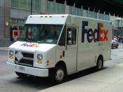 A Federal Express step van