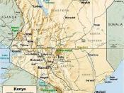 English: Kenya relief map with town names for Nairobi, Mombasa, Naivasha, Nakuru, Nyeri, Gilgil, Kisumu, Kakamega, Eldoret, Embu, etc.