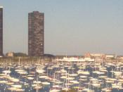 English: A zoom-in photo of a dock on Lake Michigan in Chicago.