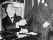 Governor Roosevelt poses with Al Smith for a publicity shot in Albany, New York, 1930