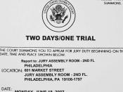 A summons for jury duty in a United States district court