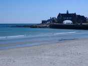 Narragansett Towers and Narragansett Town Beach, one of Rhode Island's tourist destinations.