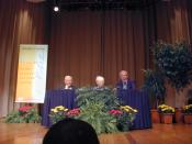 English: Ford/MIT Nobel Laureate Lecture Series on September 18, 2000 in Kresge Auditorium at the Massachusetts Institute of Technology, Cambridge, Massachusetts, USA. Shown are (from left to right) Franco Modigliani, Paul Samuelson, and Robert Solow.