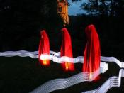 Time guards / Madonna, light sculpture by Manfred Kielnhofer at the Light Art Biennale Austria 2010