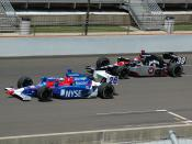 Marco Andretti (left #26) and his father Michael Andretti (right #39) practicing for the 2007 Indianapolis 500