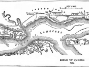 Map of the Quebec City area showing disposition of French and British forces. The Plains of Abraham are located to the left.