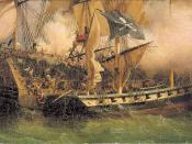 It's a painting which shows a pirate ship attacking a merchants's ship.