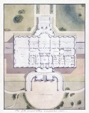 English: The White House, Washington, D.C. Site plan and principal story plan, architectural design. Français : Plan original du site et de l'étage noble de la Maison Blanche, à Washington, D. C. (Etats-Unis).