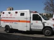 (permission acquired from photographer) Magen David Adom Ford E-450 superduty armoured civilian MICU (Mobile Intensive Care Unit) ambulance from the Jerusalem District, 2006.