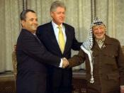 English: Arafat and Barak in peace negotiations.
