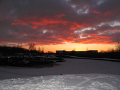 English: sunset view of frozen canal coldest winter for 30 years