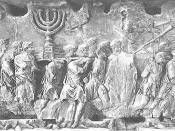 In this part of Titus' triumphal procession (from the Arch of Titus in Rome), the treasures of the Jewish Temple in Jerusalem are being displayed to the Roman people. Hence the Menorah.
