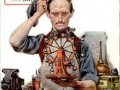 English: Cover of the October 1920 issue of Popular Science magazine, painted by American illustrator Norman Rockwell. It depicts an inventor working on a perpetual motion machine.