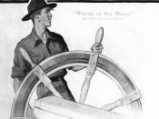 English: Scout at Ship's Wheel by Norman Rockwell (1894–1978), his first published magazine cover illustration, from the September 1913 cover of Boys' Life magazine for the Boy Scouts of America