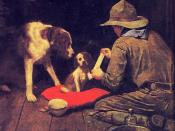 A Red Cross Man in the Making by Norman Rockwell (1894–1978), his first Boy Scouts of America calendar in 1925, originally published in 1918 in The Red Cross Magazine. Retitled A Good Scout when re-used in the 1925 calendar.