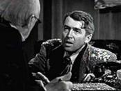 A distraught George Bailey (James Stewart) pleads for help from Mr. Potter.