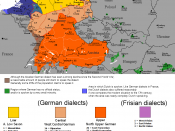 English: The dialectal ranges (not those of standard languages!) of the Continental West Germanic languages (Dutch/Frisian/German)