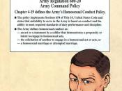 English: DIGNITY & RESPECT (2001) is a U.S. Army training guide on the homosexual conduct policy. PROBLEMS DEALT WITH: Homosexual conduct, evidence gathering and credible witnesses, admission of guilt, harassment, and additional army resources. This page
